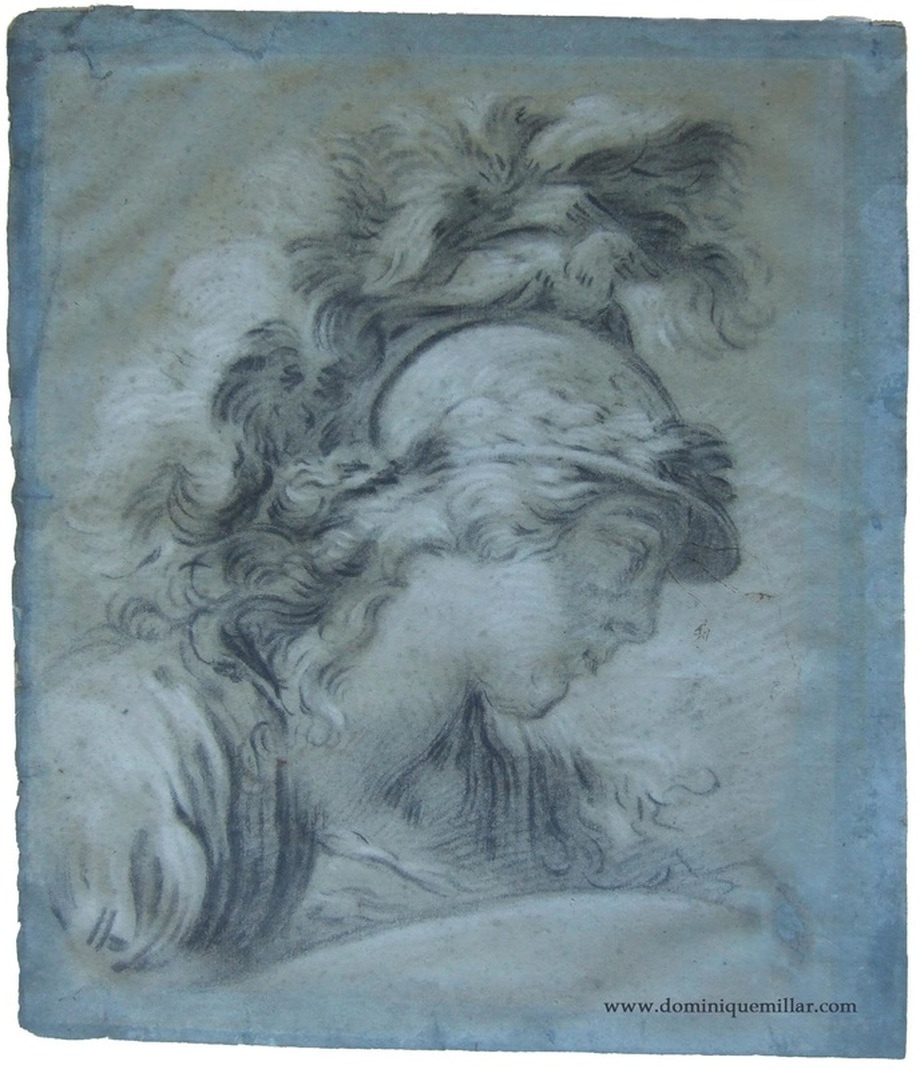 Dominique Millar's Collection, Artist: Francois Boucher, Head of Minerva, tete de minerve, Louis-Marin Bonnet, black chalk on blue paper