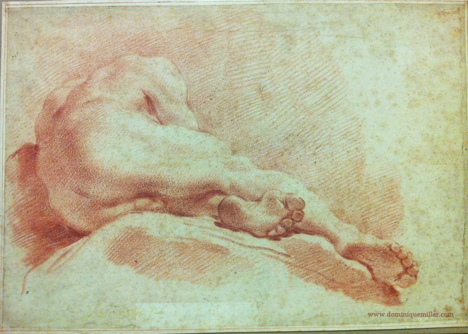 Dominique Millar's Collection, Artist: Gaetano Gandolfi, Male nude, academie, red chalk