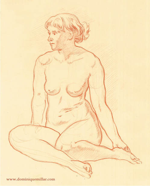Dominique Millar_Seated Woman_Red chalk on paper
