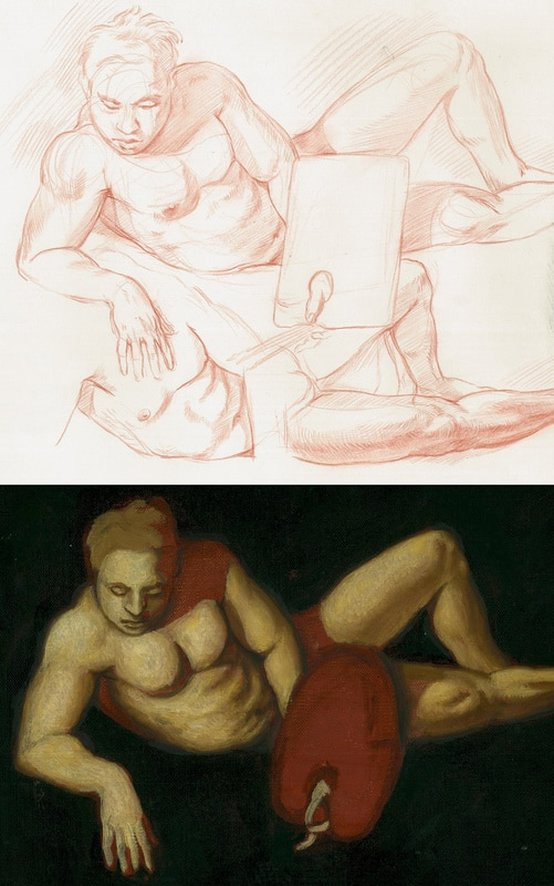 Dominique Millar, Alberti's Narcissus, Inventor of Painting, Oil on canvas, Red chalk on paper