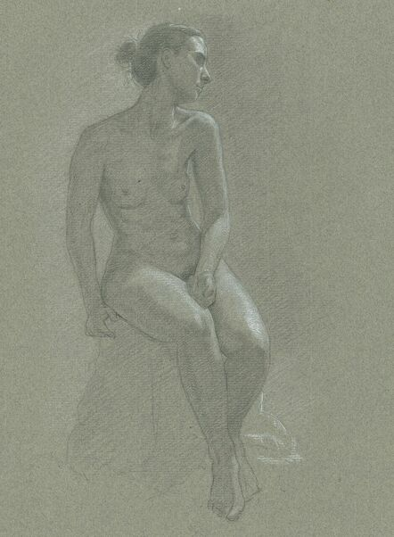 Dominique Millar, Black and White Chalk on Buff Paper, Seated Female Nude