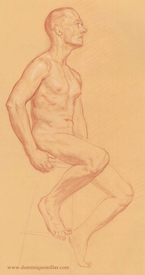 Dominique Millar_Male Nude, Red and White Chalk on Buff Paper