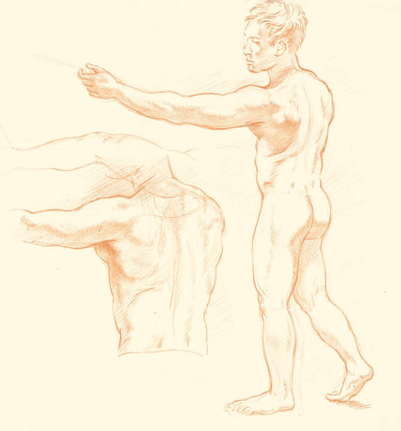 Dominique Millar, Red Chalk, Study of Male Nude